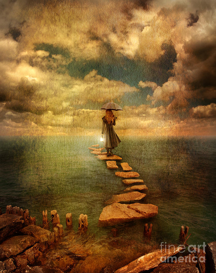 Woman Crossing The Sea On Stepping Stones Photograph