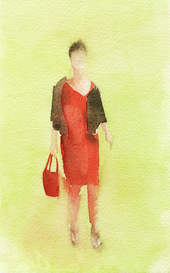 Woman In A Red Dress And Brown Jacket Painting  - Woman In A Red Dress And Brown Jacket Fine Art Print