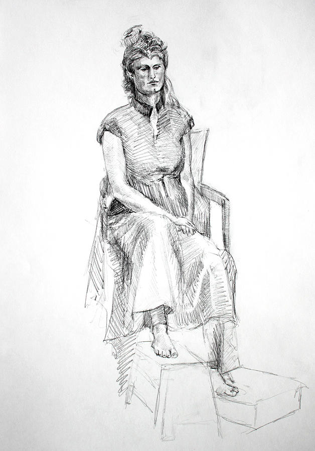 Woman In Dress Drawing