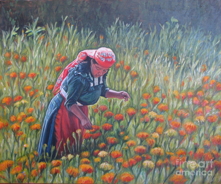Woman In Field Of Cempazuchitl Flowers Painting