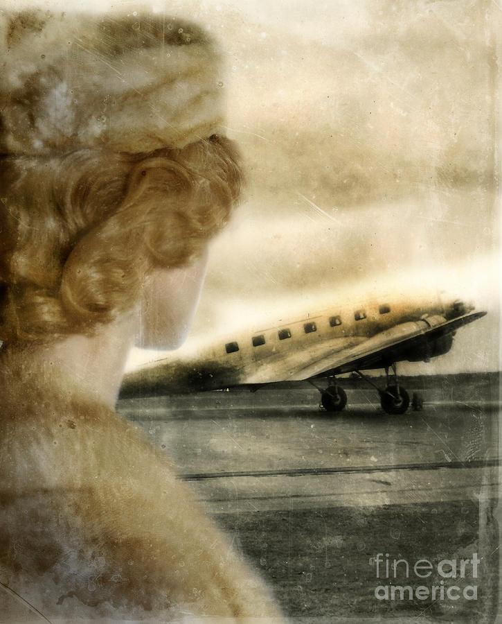 Woman Photograph - Woman In Fur By A Vintage Airplane by Jill Battaglia