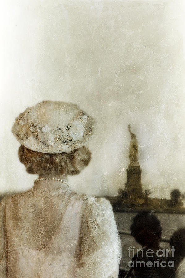 Woman In Hat Viewing The Statue Of Liberty  Photograph
