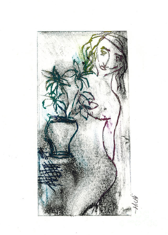 Color Monotype Relief - Woman In Waiting by Lillian Michi Adams