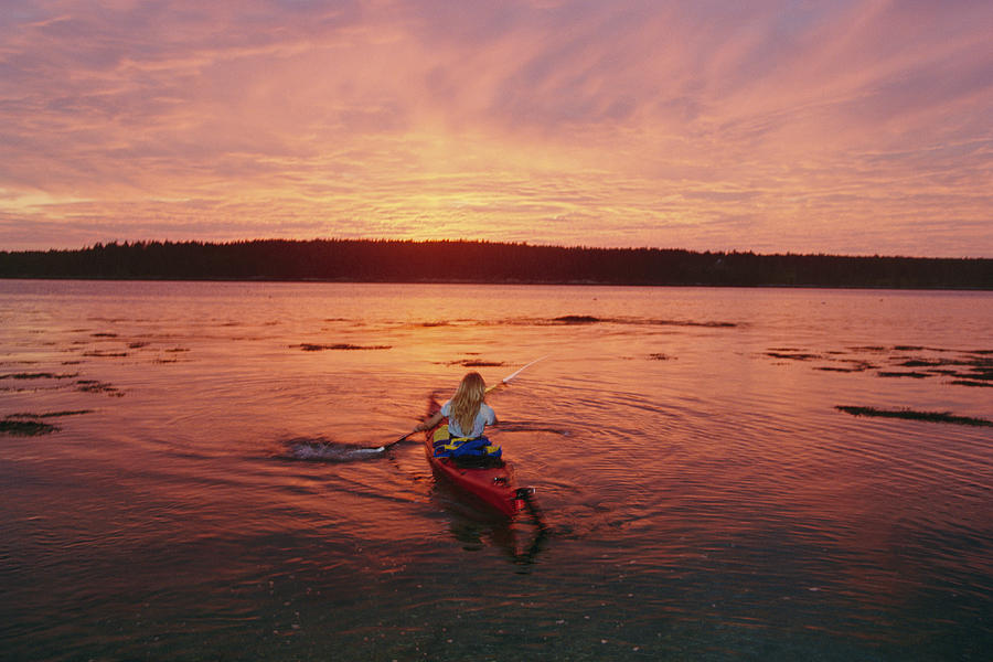Woman Kayaking At Dusk, Penobscot Bay Photograph