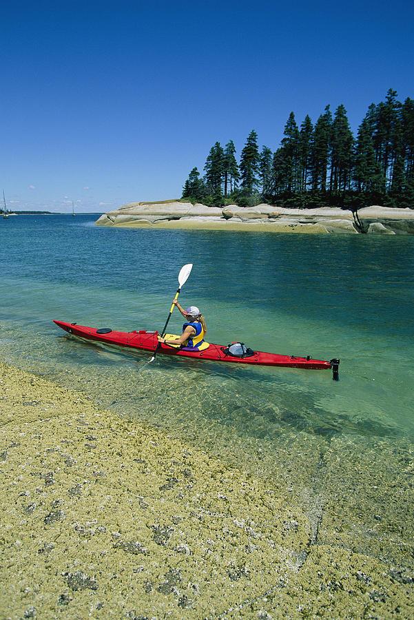 Woman Kayaking, Penobscot Bay, Maine Photograph