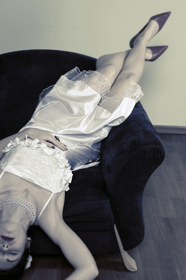 Woman Lying On Chair Photograph  - Woman Lying On Chair Fine Art Print