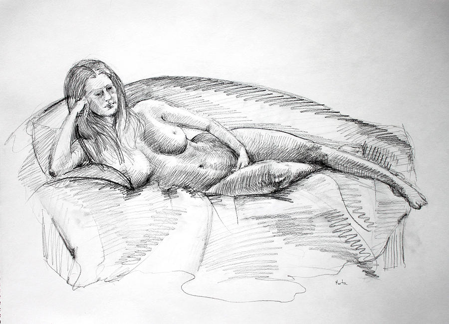 Woman On Couch Drawing