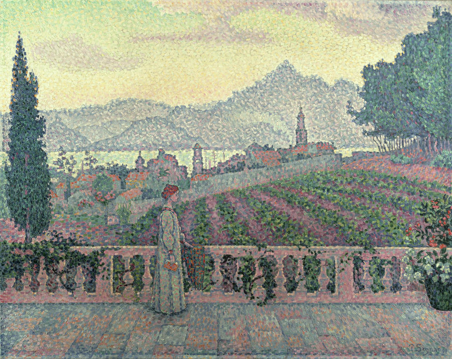 Woman On The Terrace Painting  - Woman On The Terrace Fine Art Print