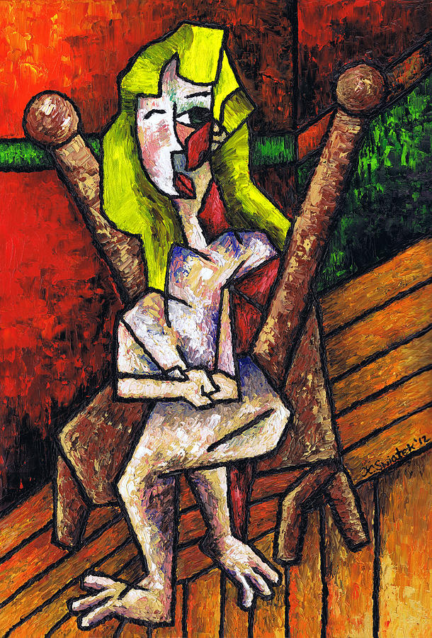 Woman On Wooden Chair Painting  - Woman On Wooden Chair Fine Art Print