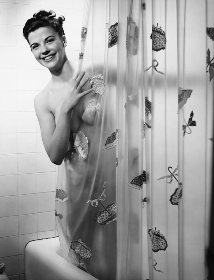 Woman Peering Through Shower Curtain, (b&w), Portrait Photograph