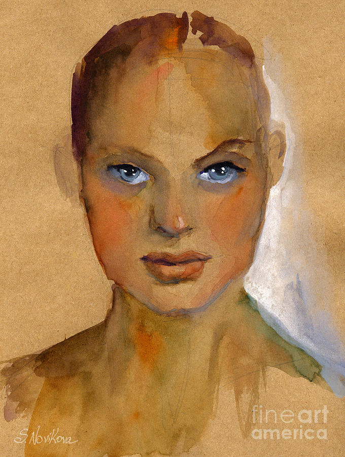Woman Portrait Sketch Painting  - Woman Portrait Sketch Fine Art Print