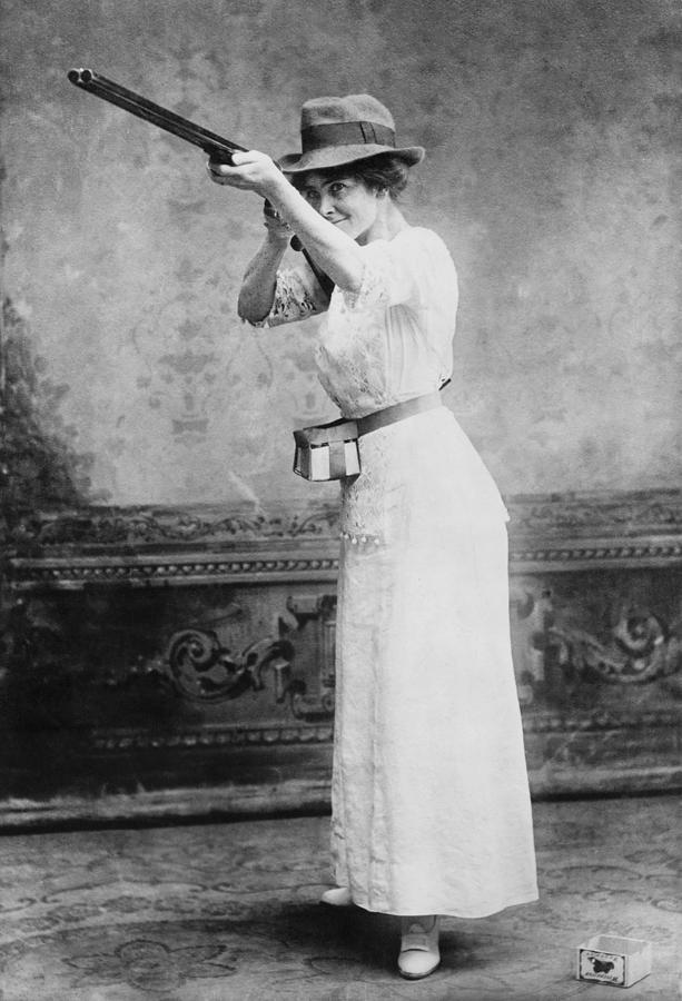 Woman Posed With Shotgun Photograph  - Woman Posed With Shotgun Fine Art Print