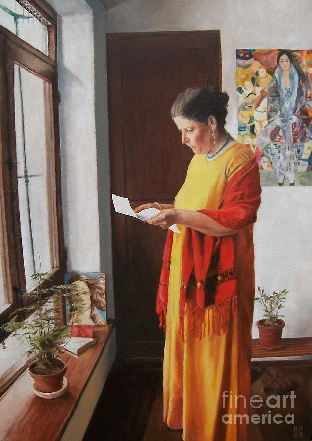 Woman Reading A Letter Painting  - Woman Reading A Letter Fine Art Print