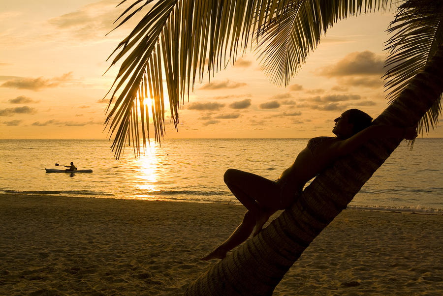 Woman Resting On A Palm Tree At Sunset Photograph