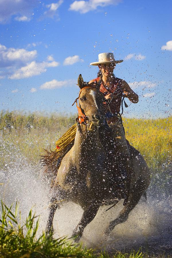 Woman Riding A Horse Photograph