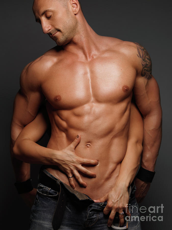 Woman Touching Muscular Mans Body Photograph  - Woman Touching Muscular Mans Body Fine Art Print