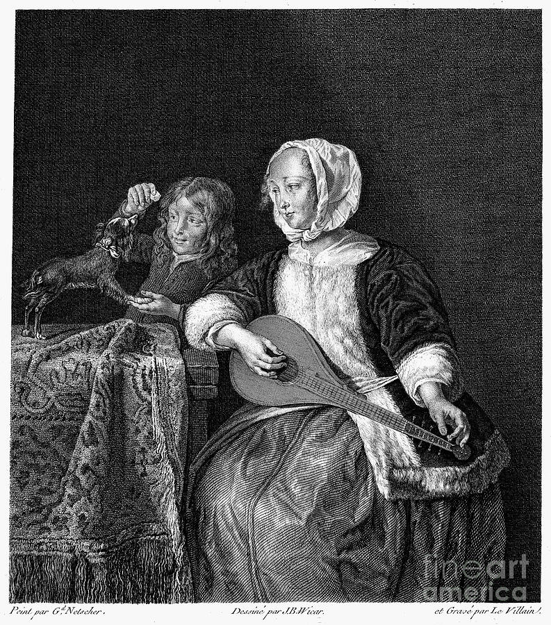 Woman Tuning A Lute Photograph