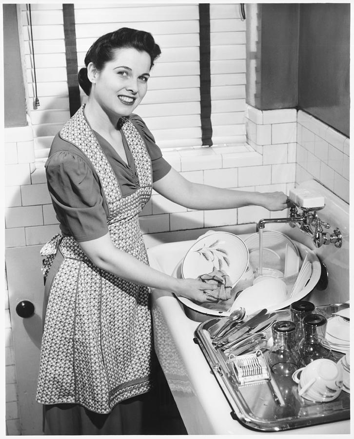 Woman Washing Dishes In Kitchen Sink, (b&w), Elevated View Photograph  - Woman Washing Dishes In Kitchen Sink, (b&w), Elevated View Fine Art Print