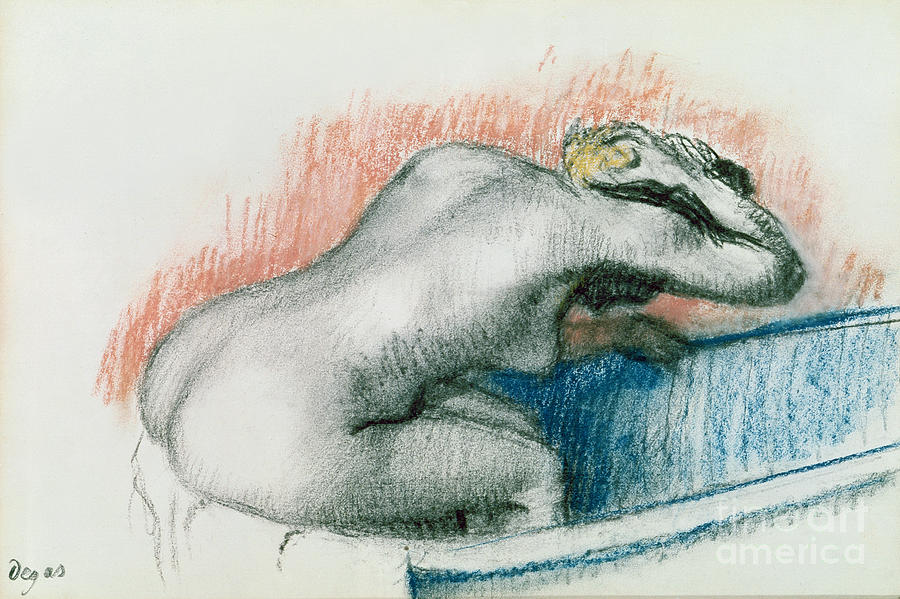 Bathing; Female; Nude; Sponge; Red; White And Blue; Toilet; Toilette; Bather; Interior; Laver Pastel - Woman Washing In The Bath by Edgar Degas