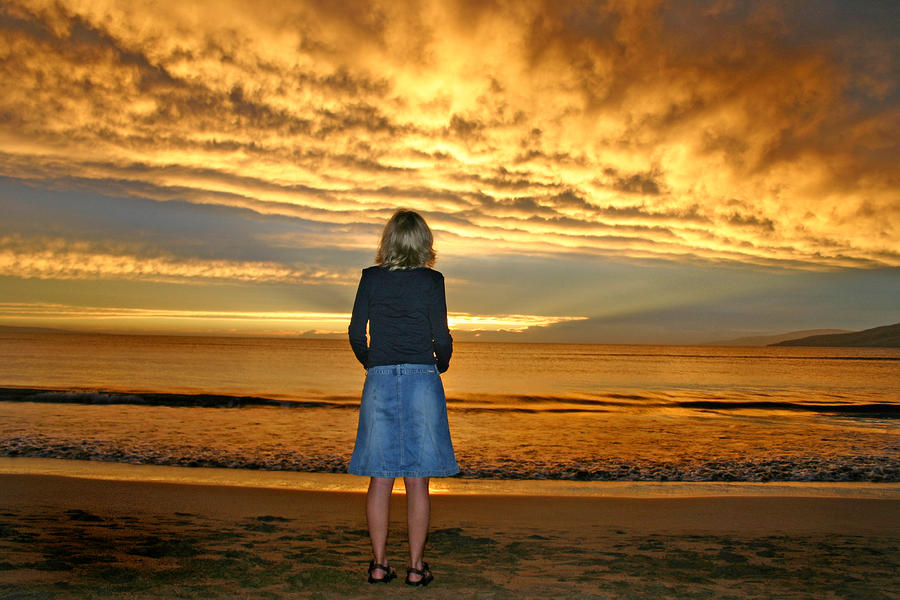 Woman Watching A Beautiful Sunset On Maui Hawaii Photograph  - Woman Watching A Beautiful Sunset On Maui Hawaii Fine Art Print