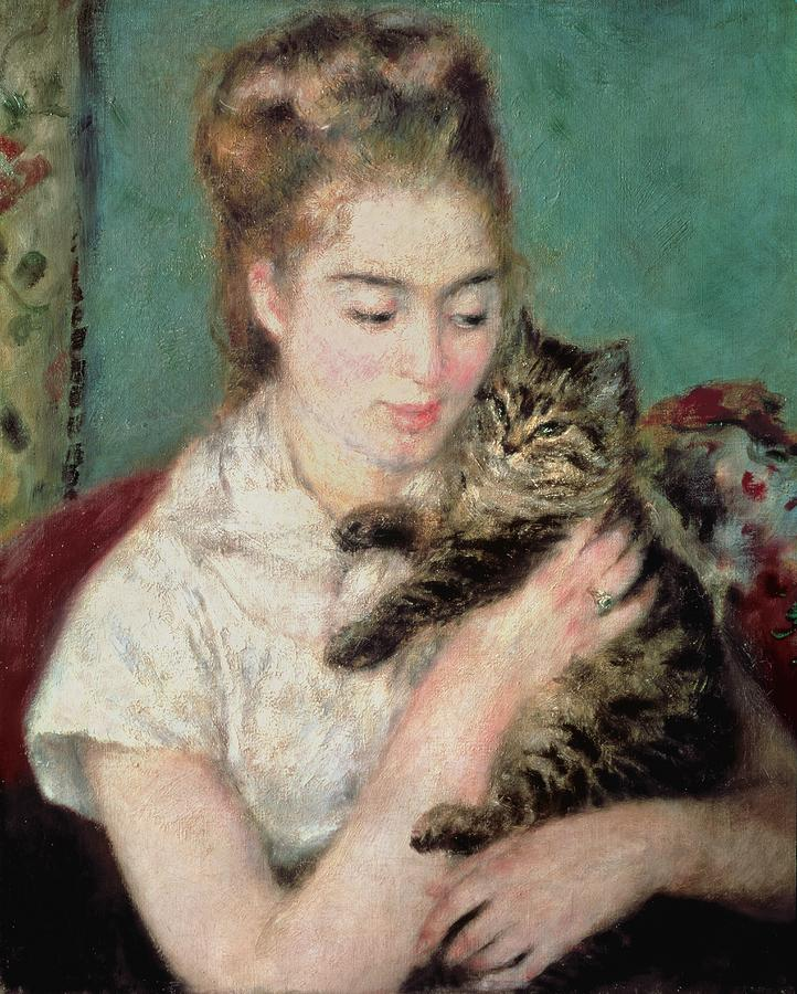 Woman With A Cat Painting