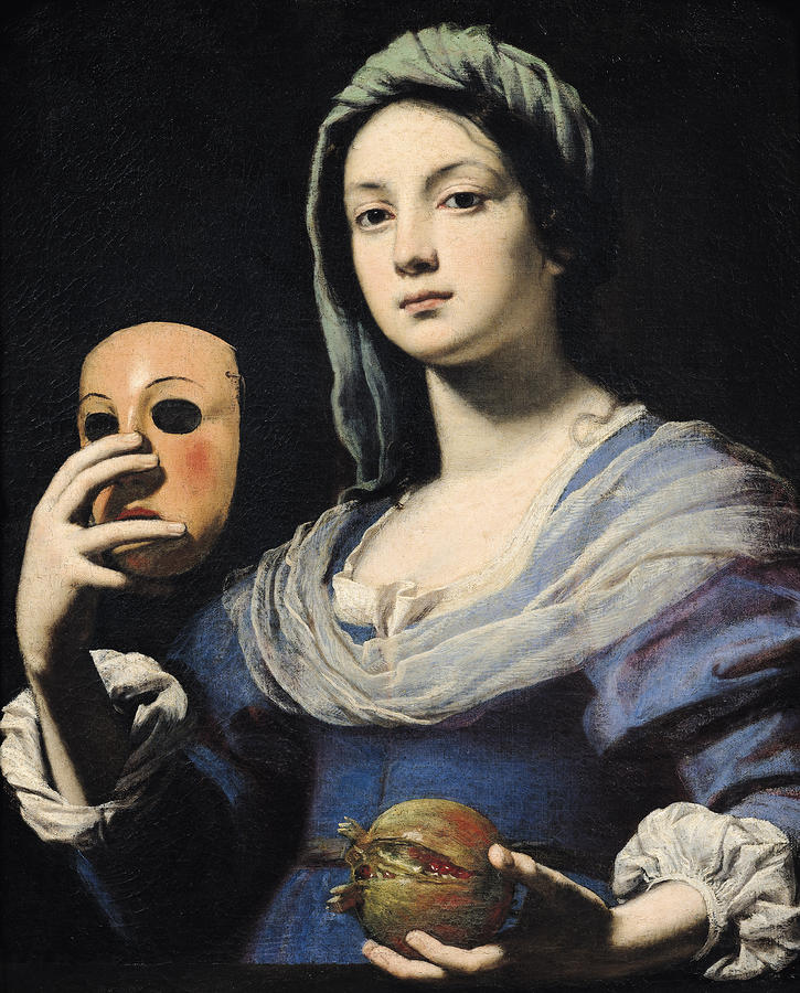 Woman With A Mask Painting  - Woman With A Mask Fine Art Print