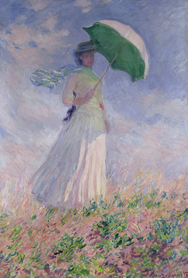 Woman With A Parasol Turned To The Right Painting