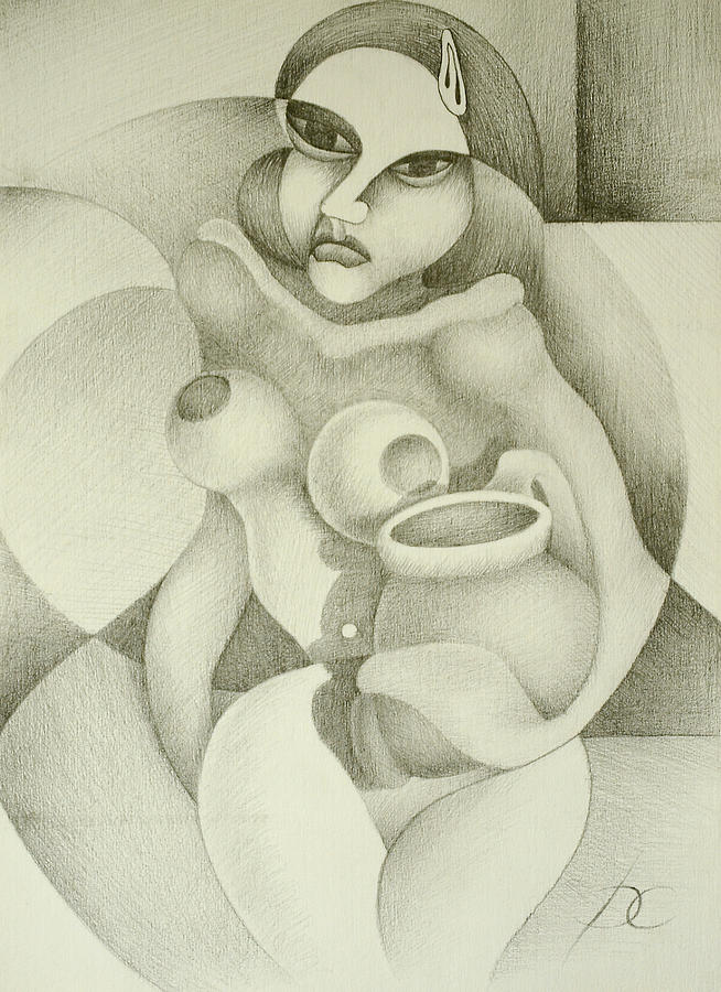 Woman With A Pitcher Drawing