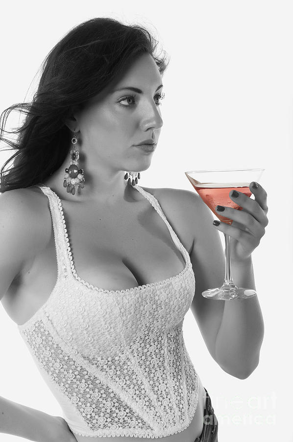 Woman With Cocktail Photograph  - Woman With Cocktail Fine Art Print