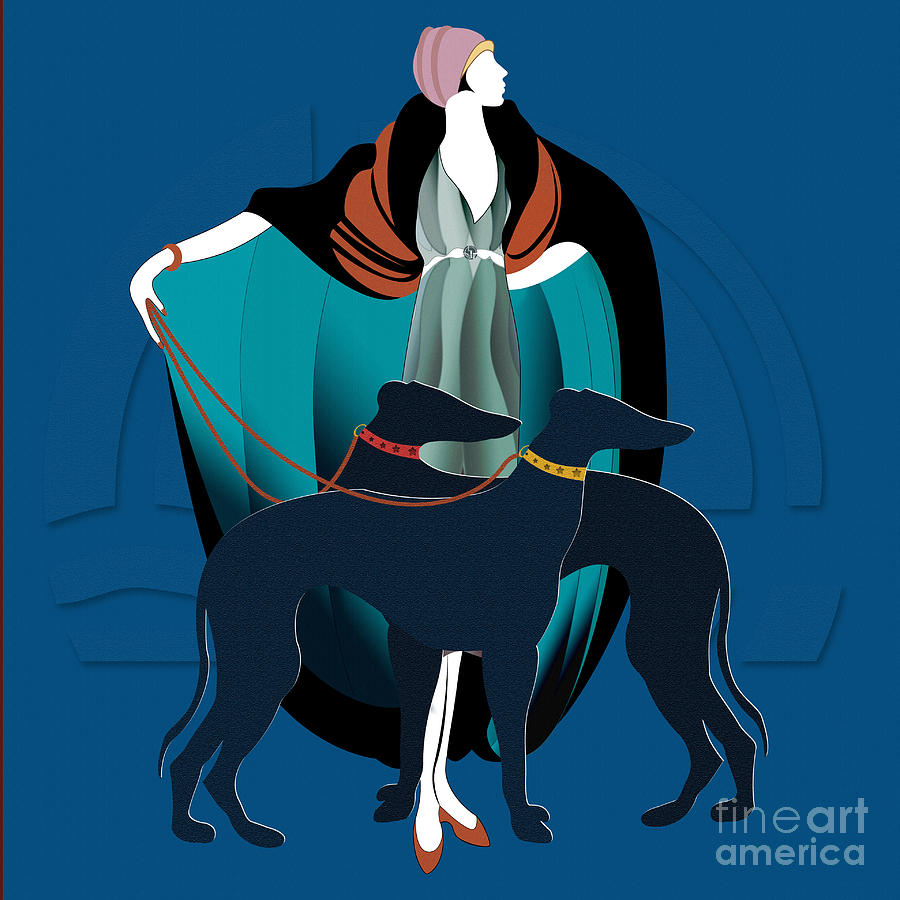 Woman With Greyhound Digital Art