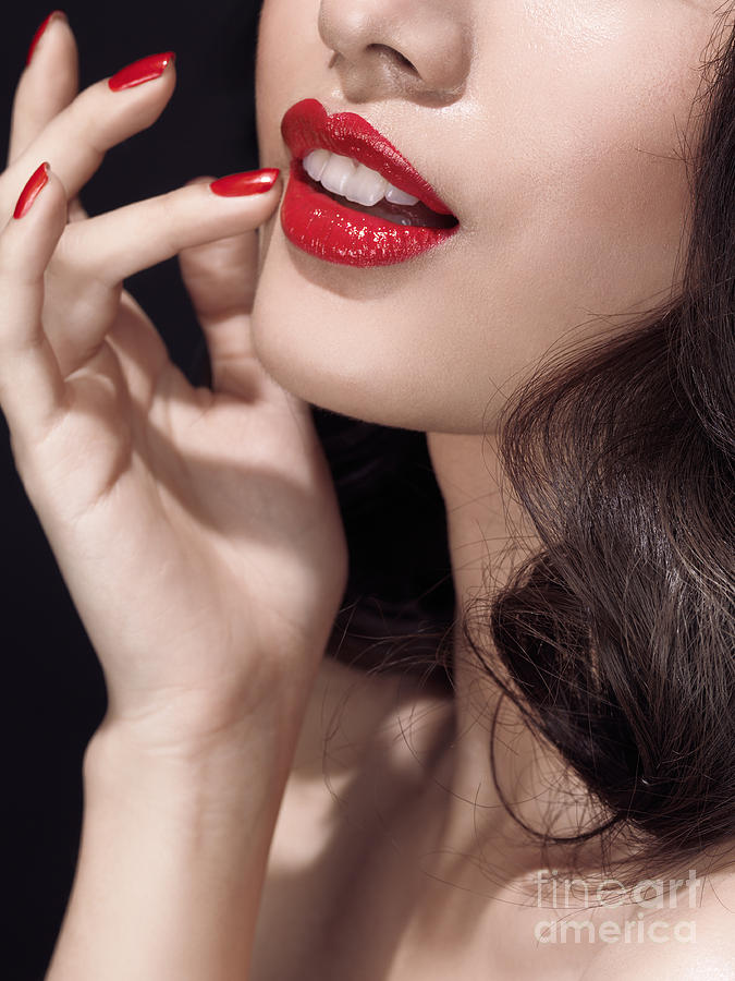 Woman With Red Lipstick Closeup Of Sensual Mouth Photograph