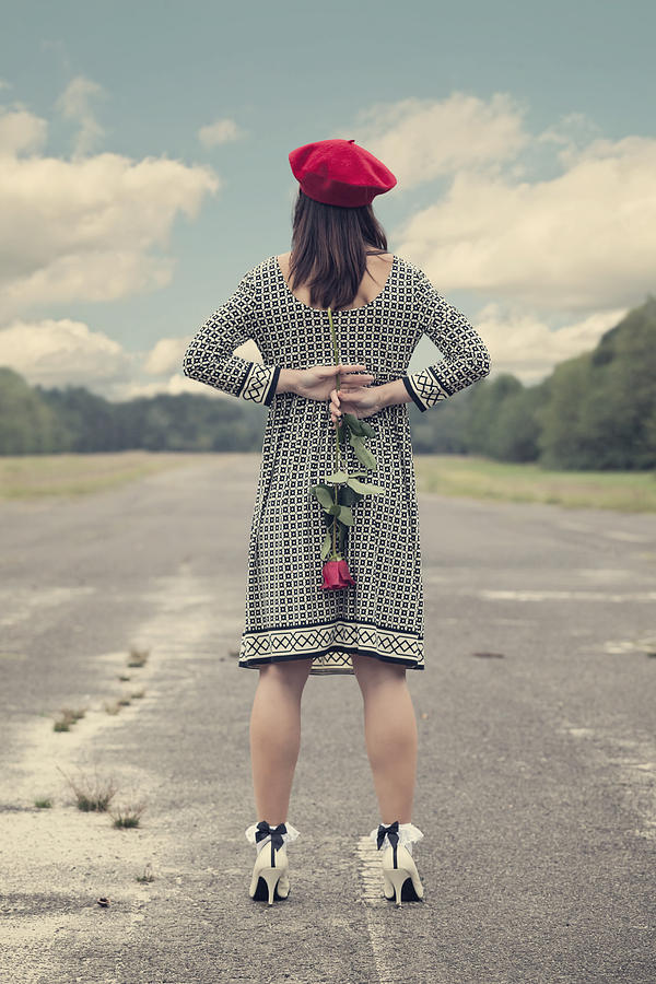 Woman With Red Rose Photograph  - Woman With Red Rose Fine Art Print