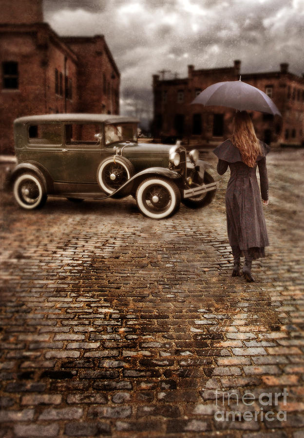 Woman With Umbrella By Vintage Car Photograph  - Woman With Umbrella By Vintage Car Fine Art Print