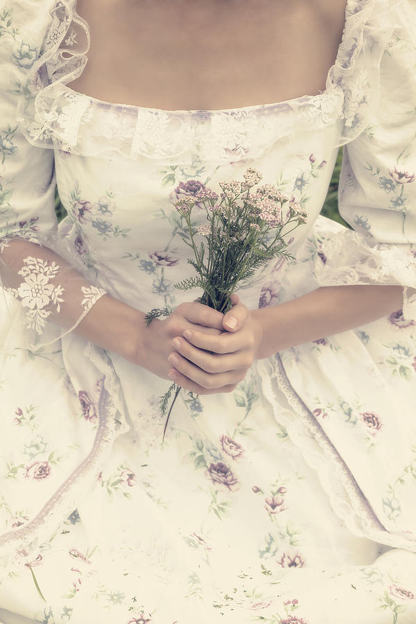 Woman With Wild Flowers Photograph