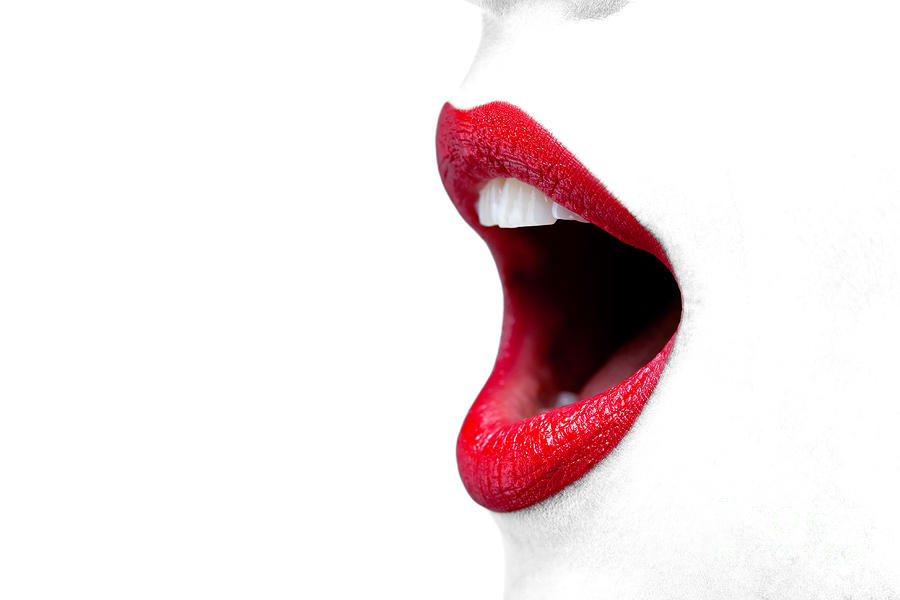 Womans Mouth Wide Open With Red Lipstick. Photograph  - Womans Mouth Wide Open With Red Lipstick. Fine Art Print