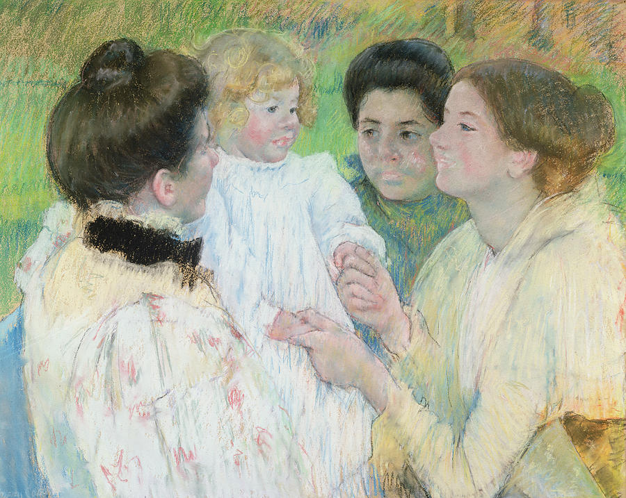 Women Admiring A Child Painting  - Women Admiring A Child Fine Art Print