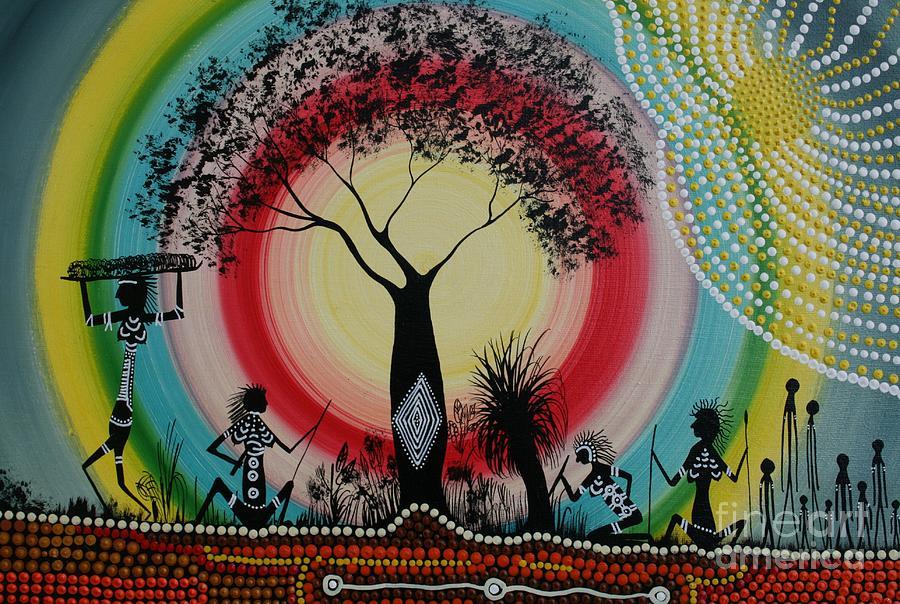 Aboriginal Art Painting - Women Under The Wisdom Tree by David Dunn