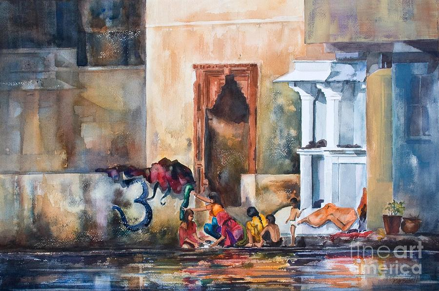 Women Washing By The Lake Udaipur India Painting  - Women Washing By The Lake Udaipur India Fine Art Print