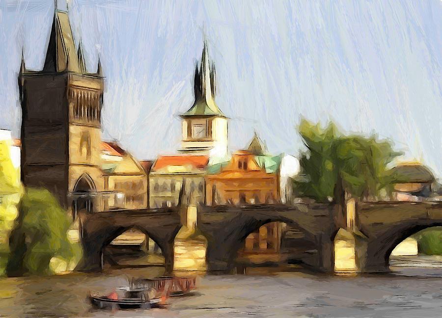 Prague Prag Praga Bridge House River Boat Water Painting Tree Tower Church Painting - Wonderful Prague by Steve K