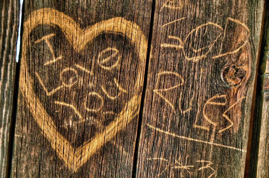 Wood Carving Graffiti Photograph