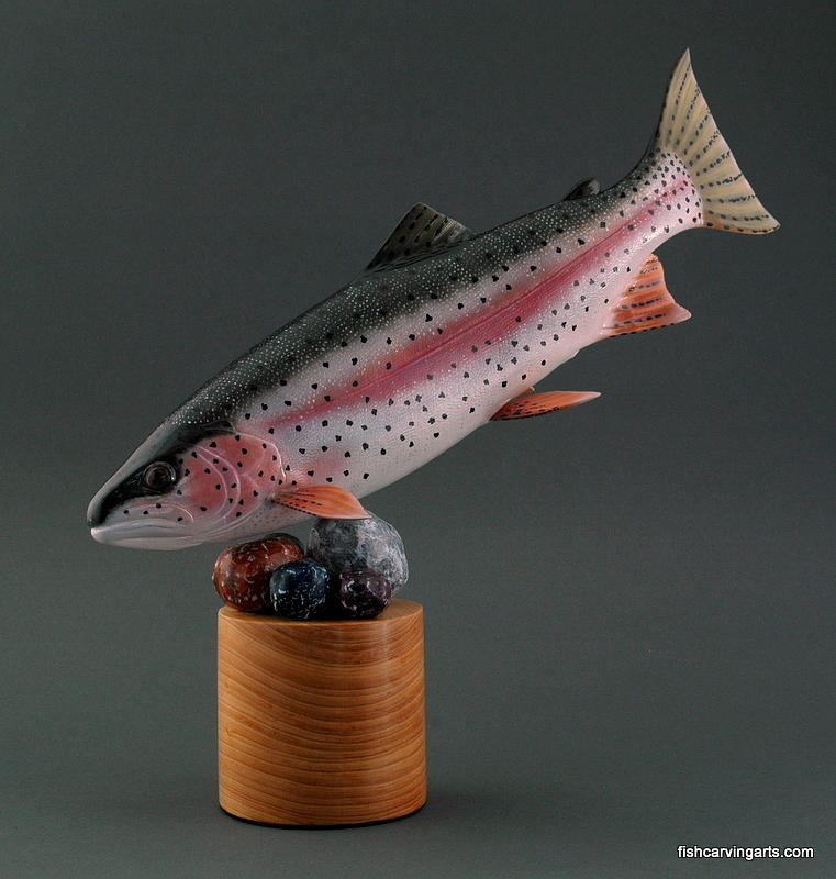 Wood carving rainbow trout by chad turner