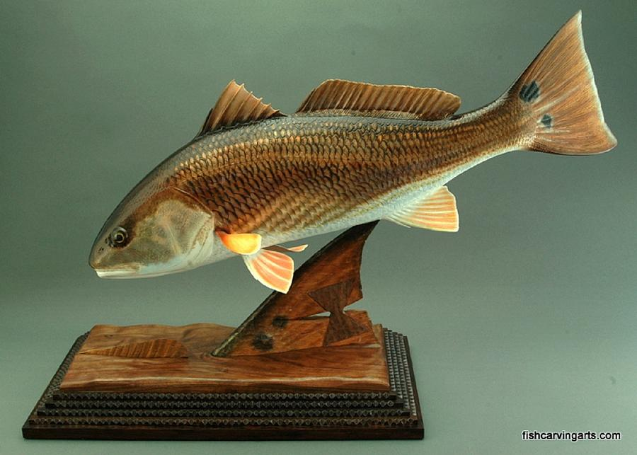 Wood carving tailing reds by chad turner