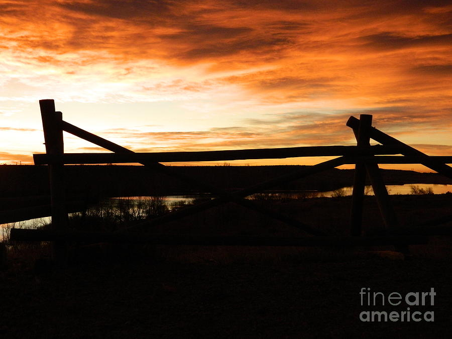 Wood Fence Sunrise Photograph