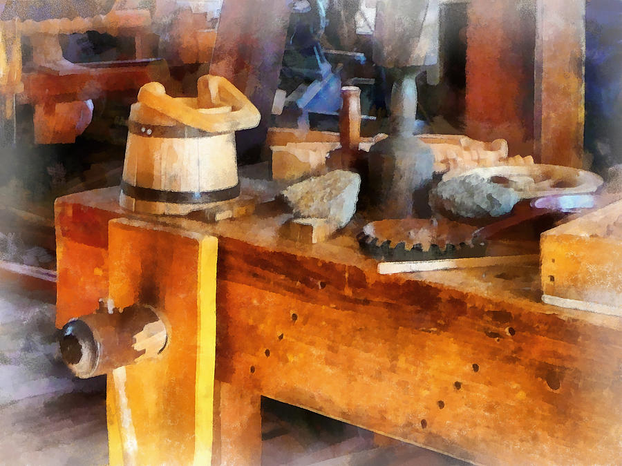 Wood Shop With Wooden Bucket Photograph  - Wood Shop With Wooden Bucket Fine Art Print