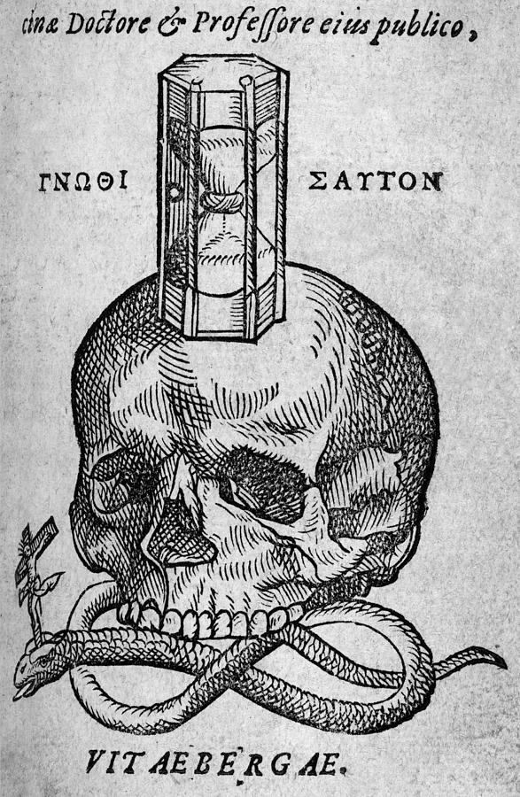 Woodcut Of Skull, Snake And Hourglass Photograph