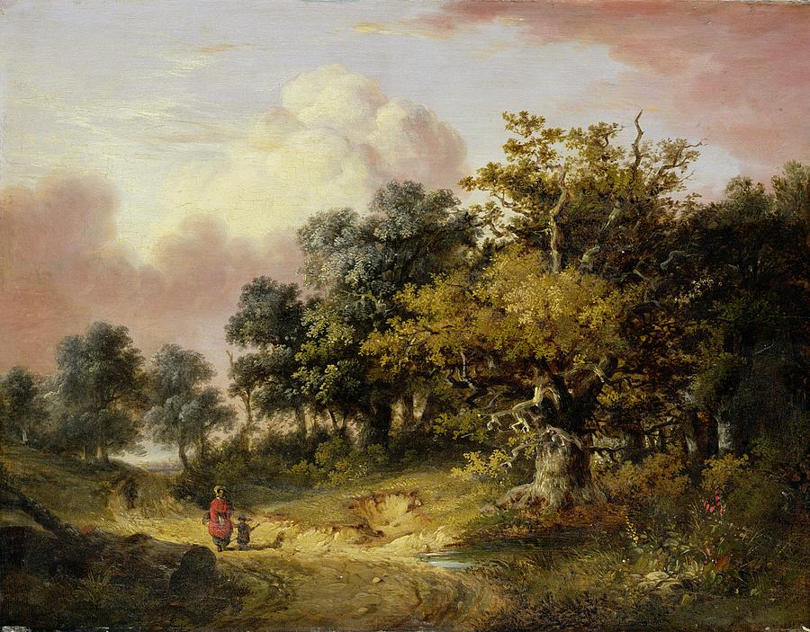 Wooded Landscape With Woman And Child Walking Down A Road  Painting