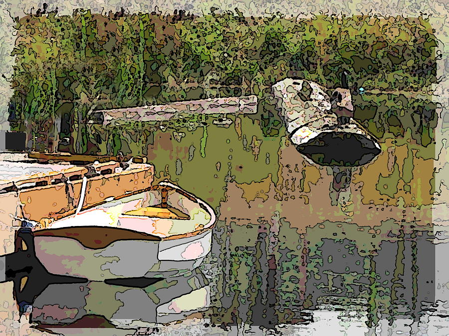 Wooden Boat Placid Digital Art  - Wooden Boat Placid Fine Art Print