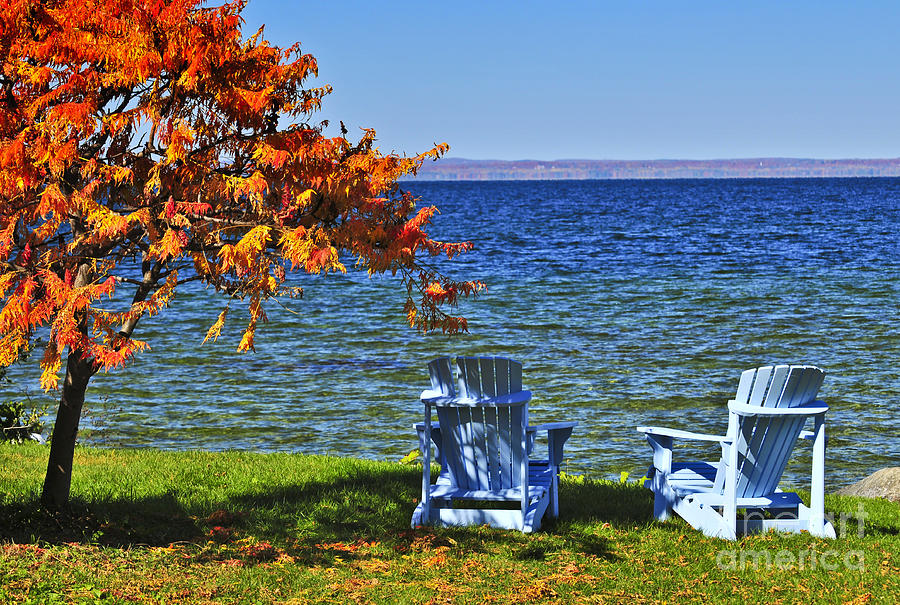 Wooden Chairs On Autumn Lake Photograph  - Wooden Chairs On Autumn Lake Fine Art Print