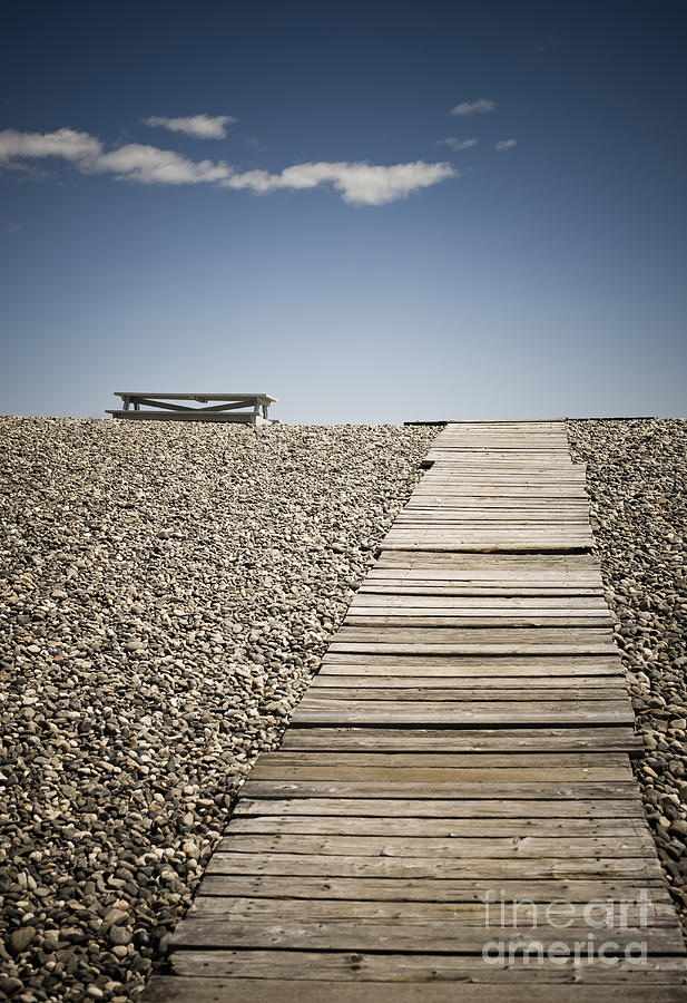 Beach Photograph - Wooden Walkway And Picnic Table At The Beach by Sam ...