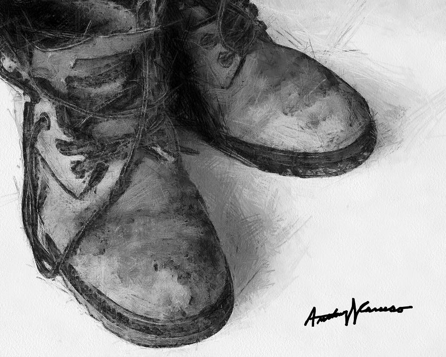 Work Boots Painting  - Work Boots Fine Art Print